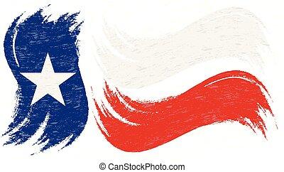 grunge, illustration., nazionale, isolato, colpo, fondo., bandiera, vettore, spazzola, bianco, texas