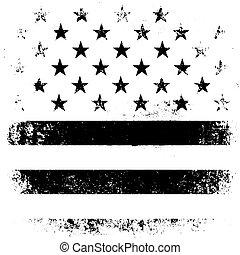 grunge, illustration., norteamericano, fondo., bandera, vector, negro, white., viejo