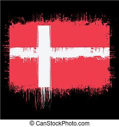 grunge illustration of flag of denmark on black