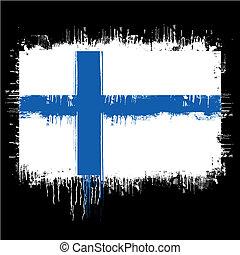 grunge illustration of flag of finland on black