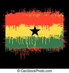 flag of ghana - grunge illustration of flag of ghana on...