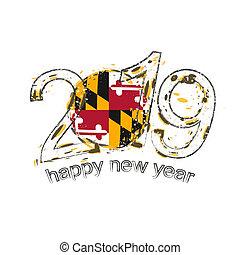 grunge, illustration., state., drapeau usa, vecteur, 2019, année, nouveau, maryland, vacances, heureux