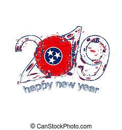 grunge, illustration., tennessee, state., drapeau usa, vecteur, 2019, année, nouveau, vacances, heureux