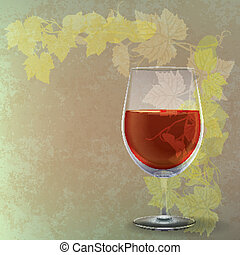 grunge illustration with wineglass on green background