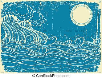 grunge, ilustração, mar, vetorial, enorme, waves., natureza