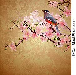 grunge, ilustracja, z, ptak, na, kwitnąc, drzewo, przekąska