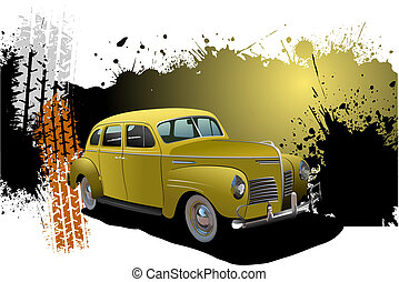 grunge, image., car, ilustração, raridade, vetorial, bandeira