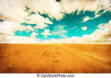 grunge, image, i, ørken, vej