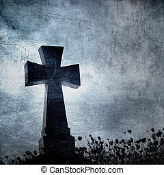 Grunge image of a cross in the cemetery, perfect halloween...