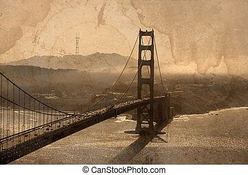 Golden Gate Bridge - Grunge image of Golden Gate Bridge, San...