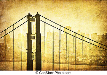 Grunge image of Golden Gate Bridge, San Francisco,...