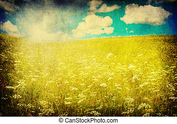 grunge image of green field and blue sky