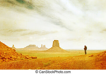 Grunge image of Monument Valley landscape