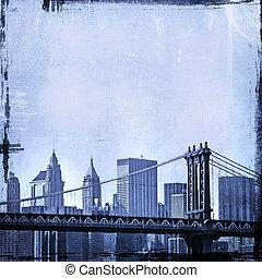 grunge image of new york skyline - grunge image of brooklyn...