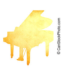 Grunge image of piano from old paper isolated