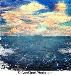 grunge image of sea