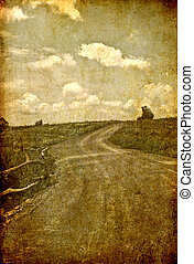 grunge image of the road to the hill
