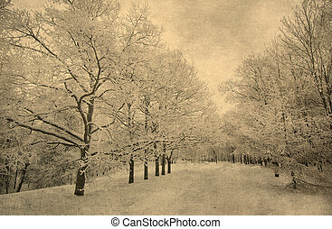 grunge image of winter landscape