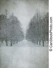grunge image of winter landscape