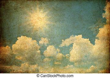 grunge, imagem, de, céu, com, nuvens, e, sol