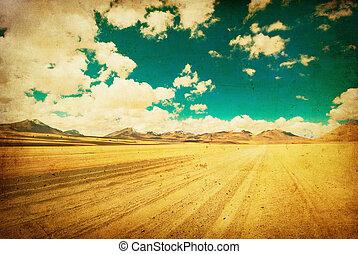 grunge, imagen, de, desierto, camino