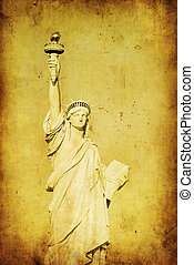 grunge, imagen, de, libertad, estatua