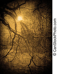 grunge, imagen, de, oscuridad, bosque, perfecto, halloween,...