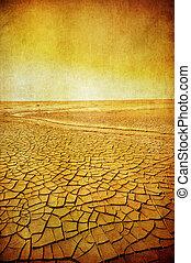 grunge, imagen, de, paisaje del desierto