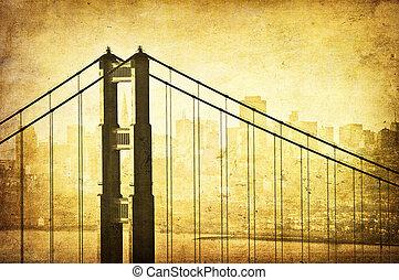 grunge, imagen, de, puente de la puerta de oro, san francisco, california