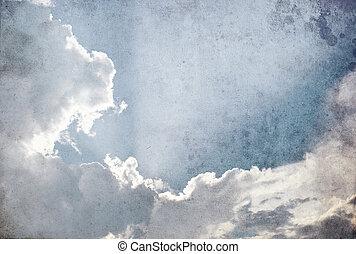 grunge, imagen, de, sol, y, nube, en, el, cielo