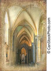 grunge, imagen, efecto, nave, retro, catedral