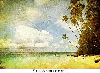 grunge, immagine, di, spiaggia tropicale