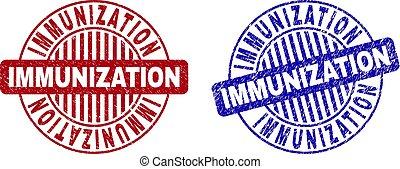 Grunge IMMUNIZATION Scratched Round Stamp Seals