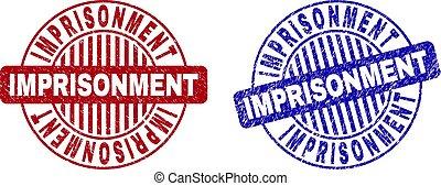 Grunge IMPRISONMENT Scratched Round Stamp Seals