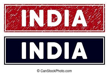 Grunge India Rectangular Stamp Seal