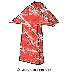 grunge, indicare, freccia, freehand, disegnato, cartone animato