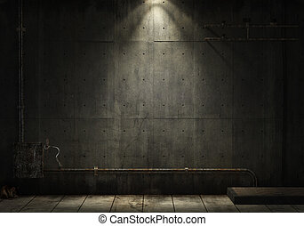 grunge background of an interior industrial scene with copy space