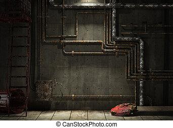 grunge, industriale, tubo, parete