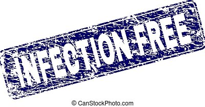Grunge INFECTION FREE Framed Rounded Rectangle Stamp