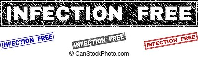 Grunge INFECTION FREE Scratched Rectangle Stamps