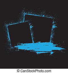 Grunge ink blots blue