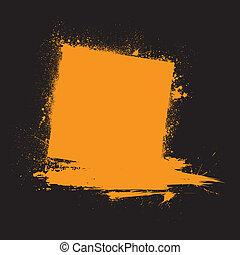 Grunge ink blots orange - Black background with orange ink...