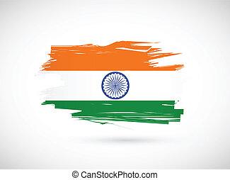 grunge ink indian flag illustration