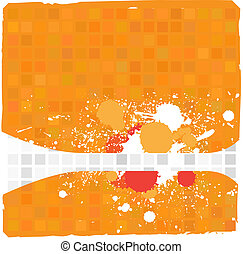 Grunge ink splat on colorful tiles