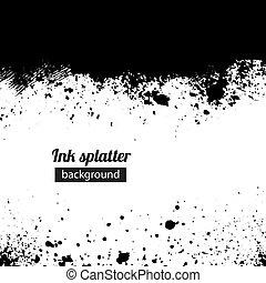 Grunge black ink splattered background