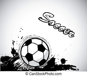 Grunge ink,soccer ball design element. Vector