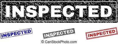 Grunge INSPECTED Scratched Rectangle Stamps