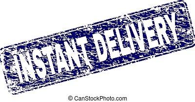 Grunge INSTANT DELIVERY Framed Rounded Rectangle Stamp -...