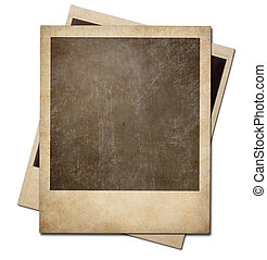 Grunge instant photo polaroid frames isolated. Clipping path without shadows is included.