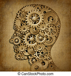 grunge, inteligência, médico, máquina, cérebro, símbolo